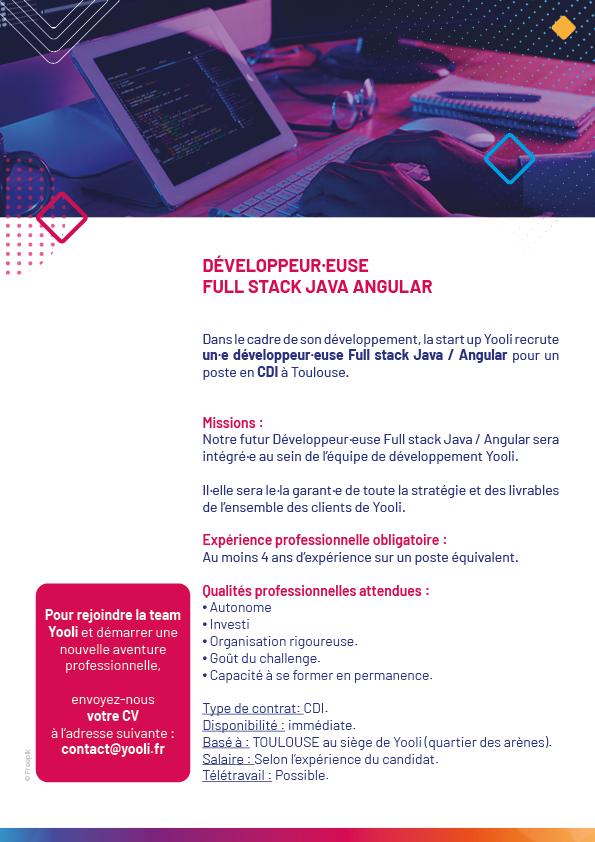 Offre de recrutement développeur·euse Full Stack Java / Angular